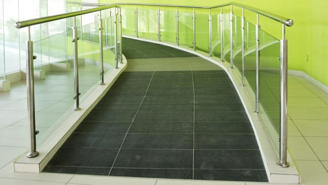Wheelchair ramp in a building