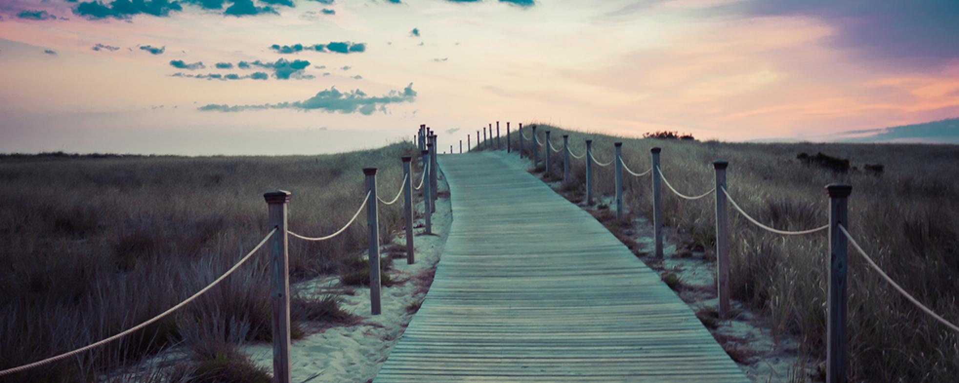 Accessible boardwalk at sunset